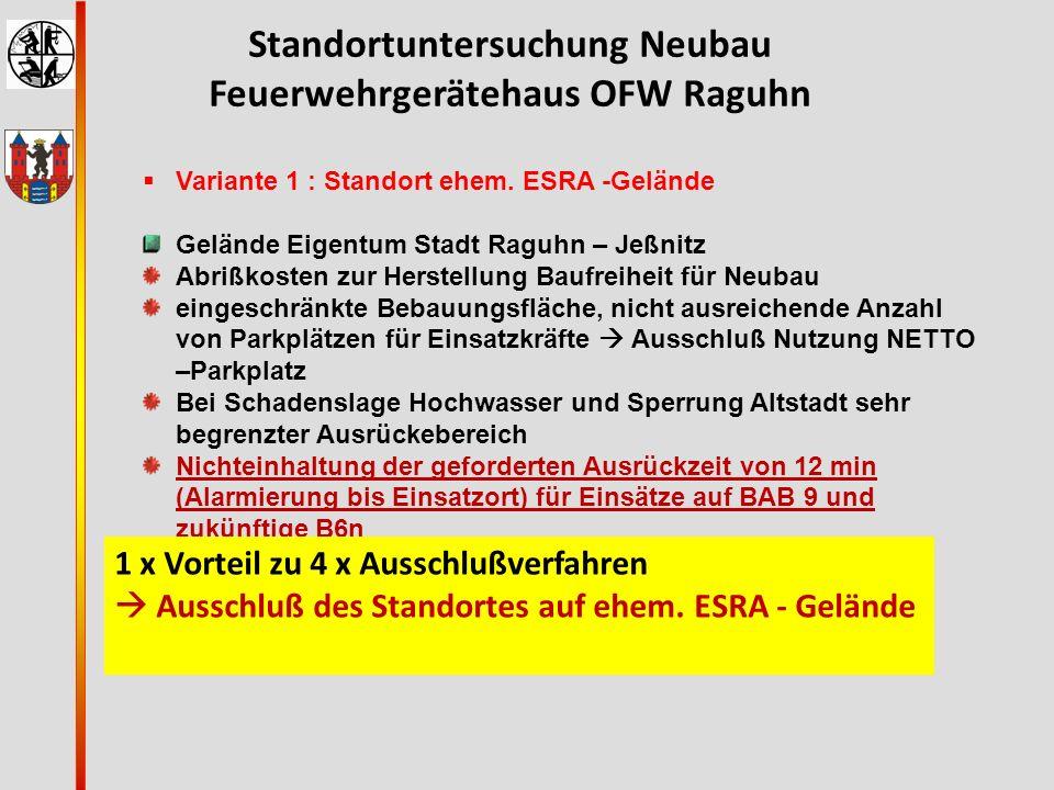 Standortuntersuchung Neubau Feuerwehrgerätehaus OFW Raguhn  Variante 1 : Standort ehem. ESRA -Gelände Gelände Eigentum Stadt Raguhn – Jeßnitz Abrißko