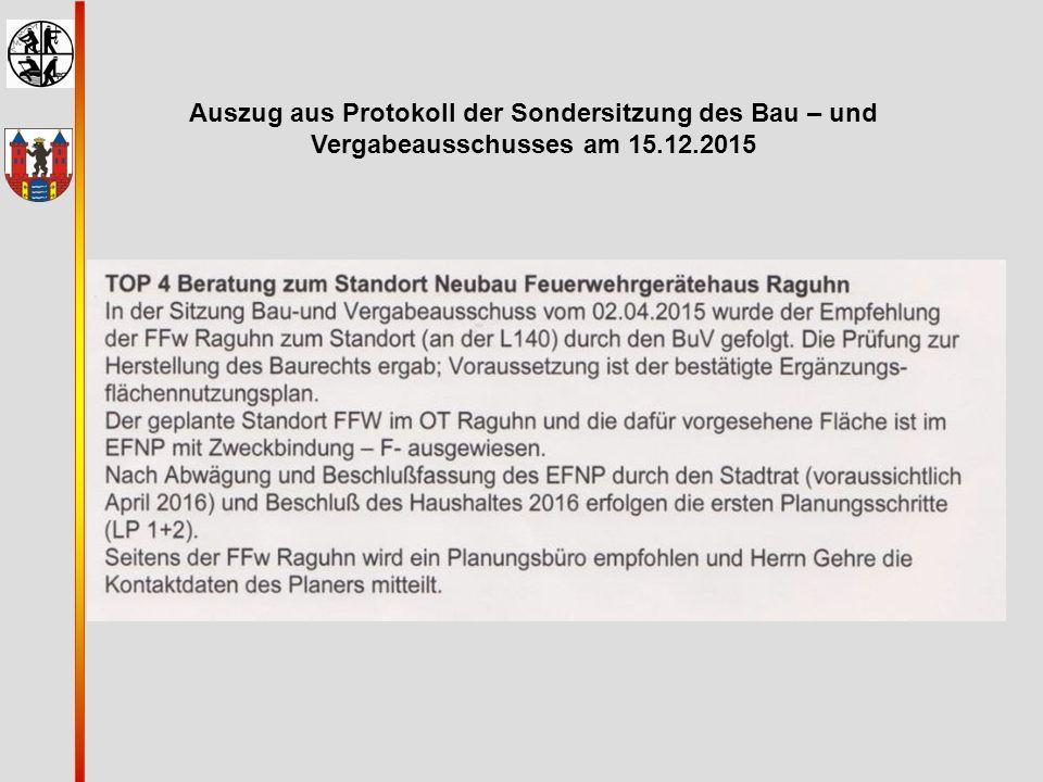 Auszug aus Protokoll der Sondersitzung des Bau – und Vergabeausschusses am 15.12.2015