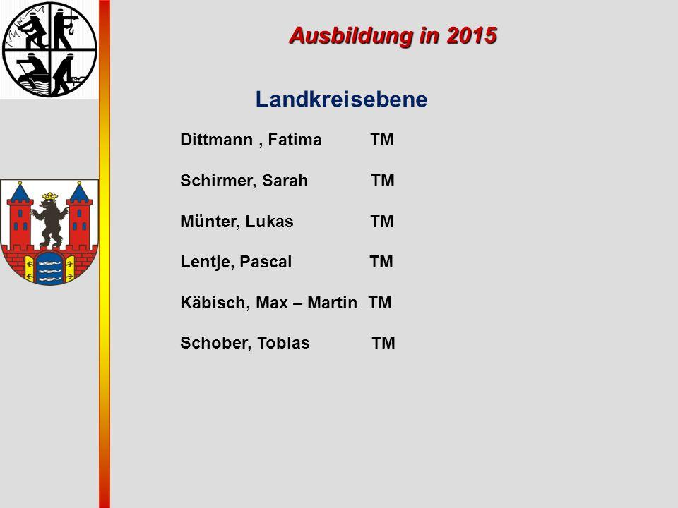 Ausbildung in 2015 Landkreisebene Dittmann, Fatima TM Schirmer, Sarah TM Münter, Lukas TM Lentje, Pascal TM Käbisch, Max – Martin TM Schober, Tobias T