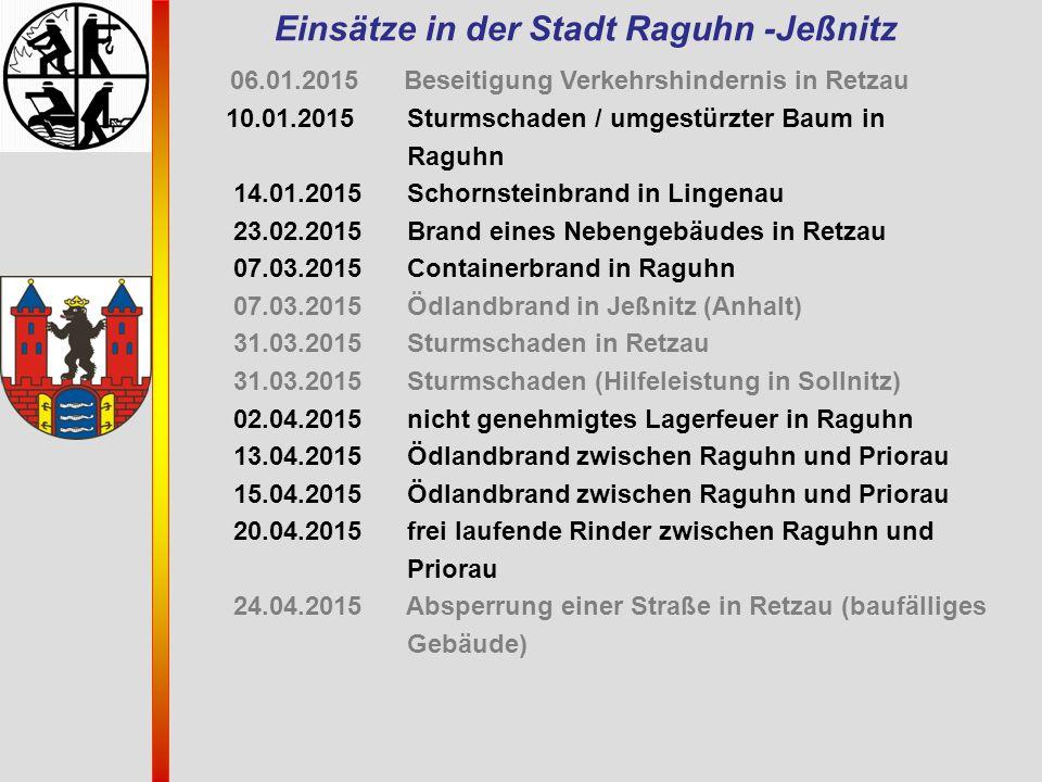 Einsätze in der Stadt Raguhn -Jeßnitz 06.01.2015 Beseitigung Verkehrshindernis in Retzau 10.01.2015 Sturmschaden / umgestürzter Baum in Raguhn 14.01.2