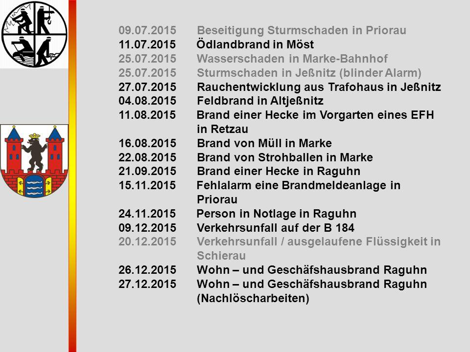 09.07.2015 Beseitigung Sturmschaden in Priorau 11.07.2015 Ödlandbrand in Möst 25.07.2015 Wasserschaden in Marke-Bahnhof 25.07.2015 Sturmschaden in Jeß