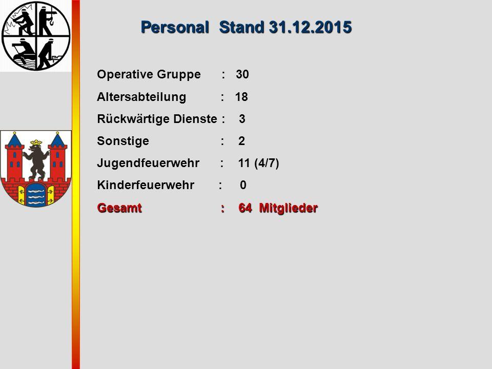 Personal Stand 31.12.2015 Operative Gruppe : 30 Altersabteilung : 18 Rückwärtige Dienste : 3 Sonstige : 2 Jugendfeuerwehr : 11 (4/7) Kinderfeuerwehr :