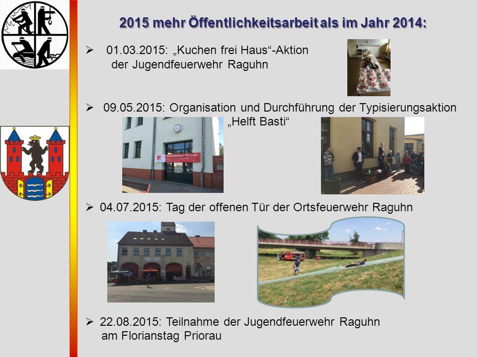 """2015 mehr Öffentlichkeitsarbeit als im Jahr 2014:  01.03.2015: """"Kuchen frei Haus""""-Aktion der Jugendfeuerwehr Raguhn  09.05.2015: Organisation und Du"""