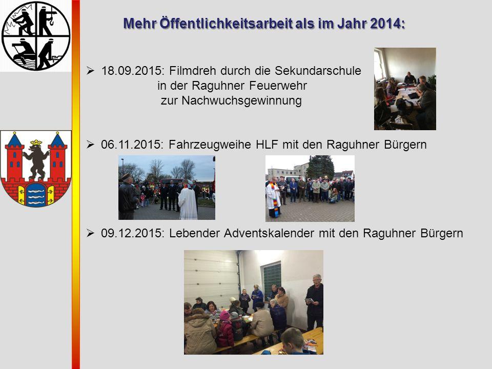 Mehr Öffentlichkeitsarbeit als im Jahr 2014:  18.09.2015: Filmdreh durch die Sekundarschule in der Raguhner Feuerwehr zur Nachwuchsgewinnung  06.11.