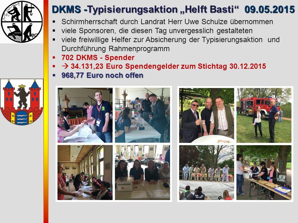 """DKMS -Typisierungsaktion """"Helft Basti"""" 09.05.2015 DKMS -Typisierungsaktion """"Helft Basti"""" 09.05.2015  Schirmherrschaft durch Landrat Herr Uwe Schulze"""