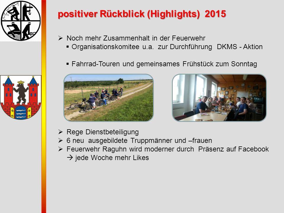 positiver Rückblick (Highlights) 2015  Noch mehr Zusammenhalt in der Feuerwehr  Organisationskomitee u.a. zur Durchführung DKMS - Aktion  Fahrrad-T
