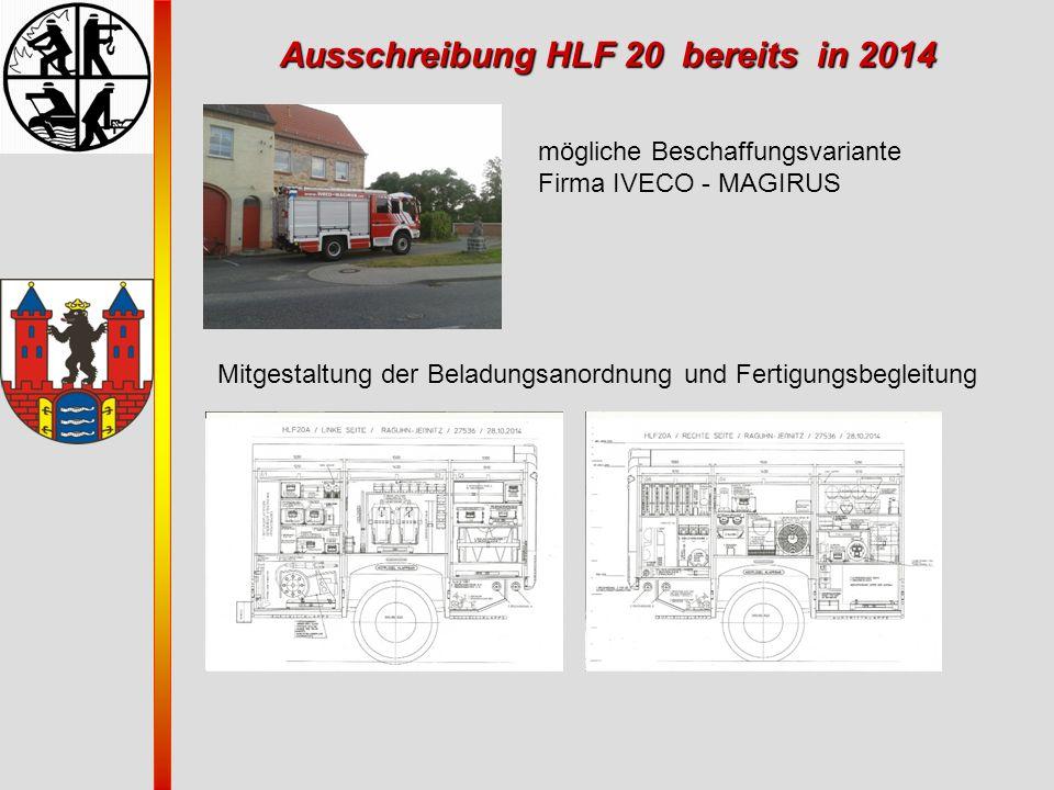 Ausschreibung HLF 20 bereits in 2014 mögliche Beschaffungsvariante Firma IVECO - MAGIRUS Mitgestaltung der Beladungsanordnung und Fertigungsbegleitung