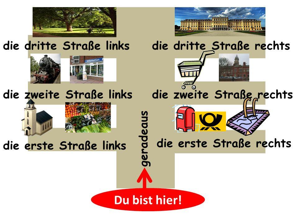 Du bist hier! die erste Straße rechts die zweite Straße rechts die dritte Straße rechts die erste Straße links die zweite Straße links die dritte Stra