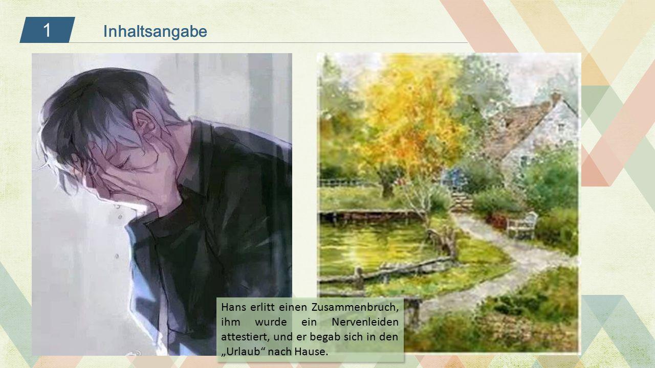 """1 Inhaltsangabe Hans erlitt einen Zusammenbruch, ihm wurde ein Nervenleiden attestiert, und er begab sich in den """"Urlaub"""" nach Hause."""
