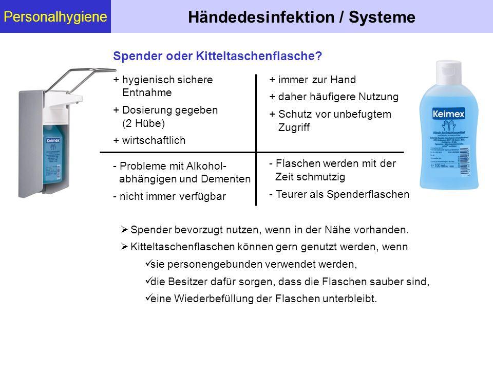 Personalhygiene Händedesinfektion / Systeme  Spender bevorzugt nutzen, wenn in der Nähe vorhanden.  Kitteltaschenflaschen können gern genutzt werden