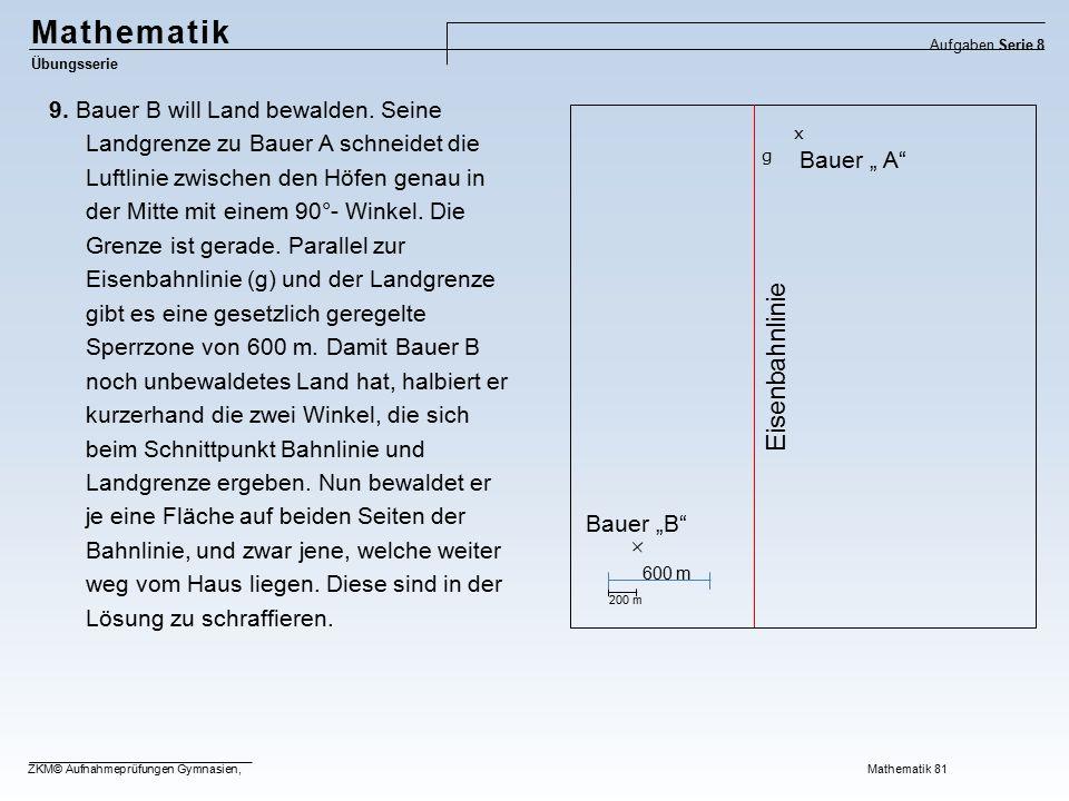 Mathematik Übungsserie Aufgaben Serie 8 ZKM© Aufnahmeprüfungen Gymnasien, Mathematik 81 9. Bauer B will Land bewalden. Seine Landgrenze zu Bauer A sch