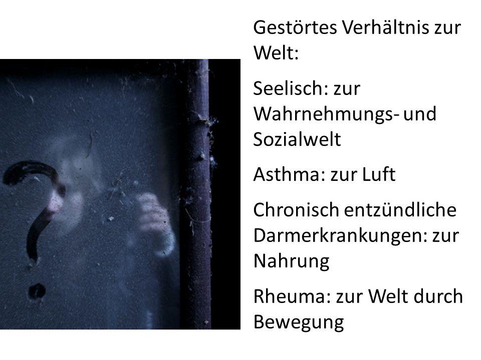 Gestörtes Verhältnis zur Welt: Seelisch: zur Wahrnehmungs- und Sozialwelt Asthma: zur Luft Chronisch entzündliche Darmerkrankungen: zur Nahrung Rheuma: zur Welt durch Bewegung
