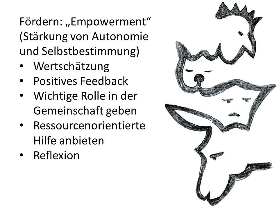 """Fördern: """"Empowerment (Stärkung von Autonomie und Selbstbestimmung) Wertschätzung Positives Feedback Wichtige Rolle in der Gemeinschaft geben Ressourcenorientierte Hilfe anbieten Reflexion"""
