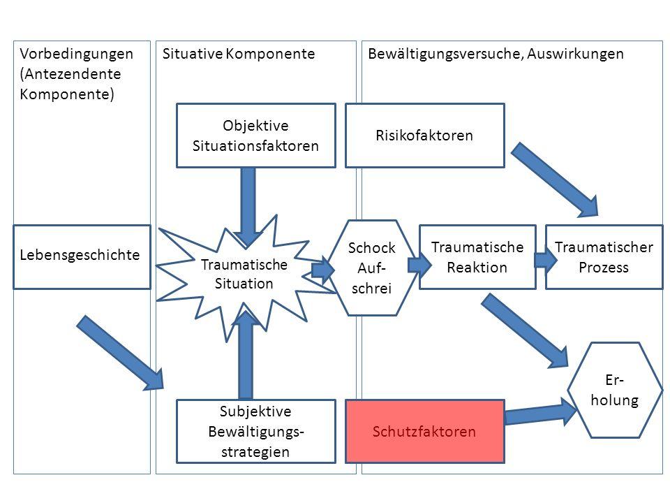 Vorbedingungen (Antezendente Komponente) Lebensgeschichte Situative KomponenteBewältigungsversuche, Auswirkungen Objektive Situationsfaktoren Subjekti