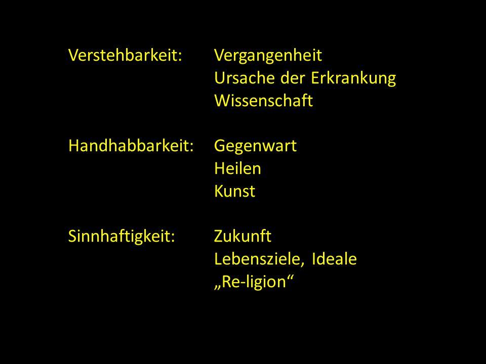 """Verstehbarkeit:Vergangenheit Ursache der Erkrankung Wissenschaft Handhabbarkeit:Gegenwart Heilen Kunst Sinnhaftigkeit:Zukunft Lebensziele, Ideale """"Re-"""