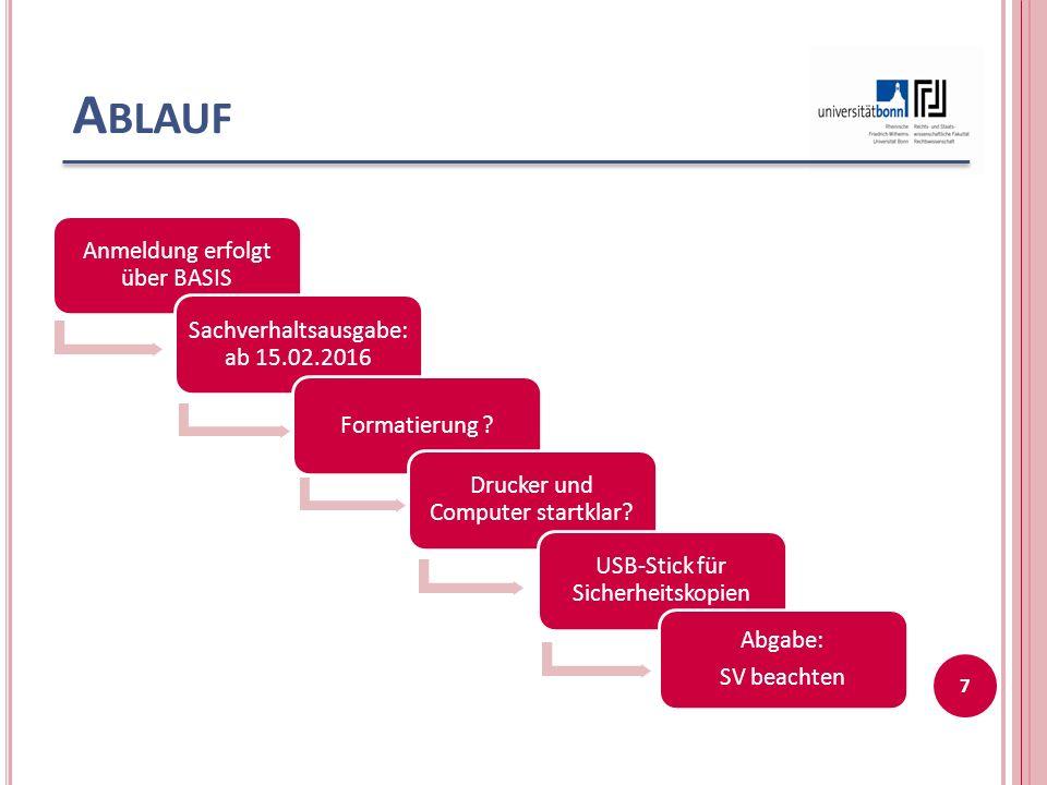 A BLAUF Anmeldung erfolgt über BASIS Sachverhaltsausgabe: ab 15.02.2016 Formatierung .
