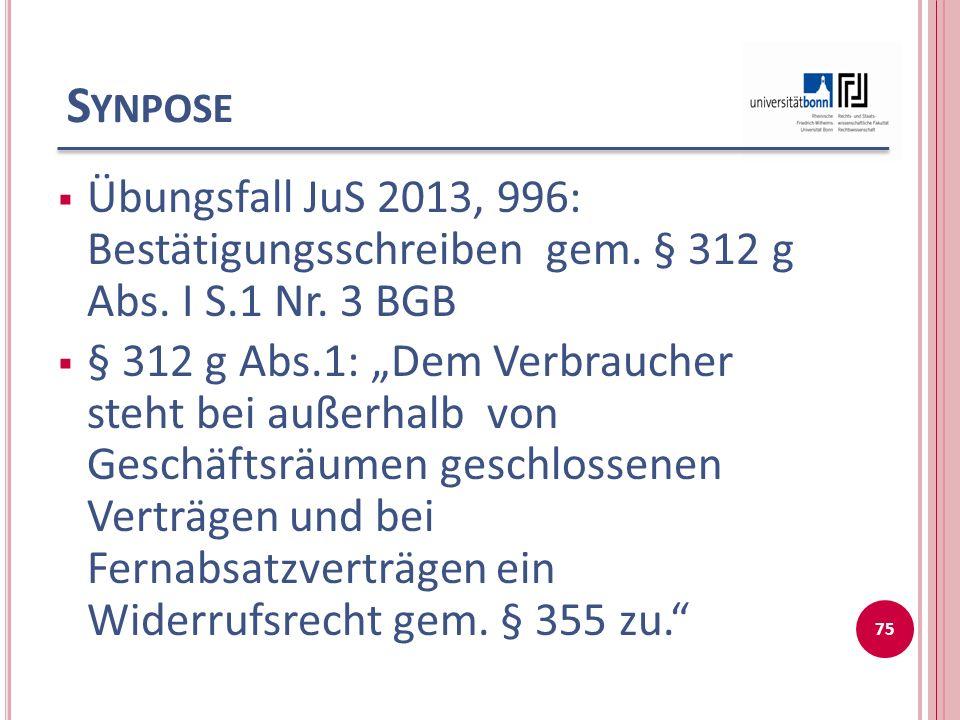 S YNPOSE  Übungsfall JuS 2013, 996: Bestätigungsschreiben gem.