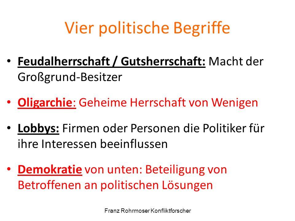 Vier politische Begriffe Feudalherrschaft / Gutsherrschaft: Macht der Großgrund-Besitzer Oligarchie: Geheime Herrschaft von Wenigen Lobbys: Firmen ode