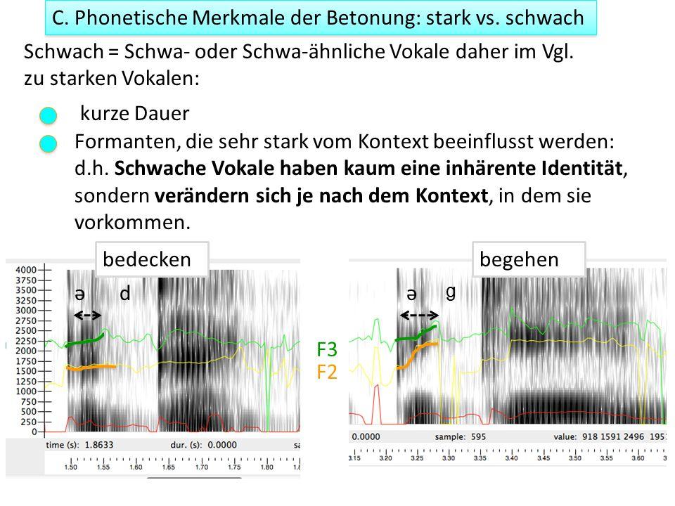 C. Phonetische Merkmale der Betonung: stark vs.