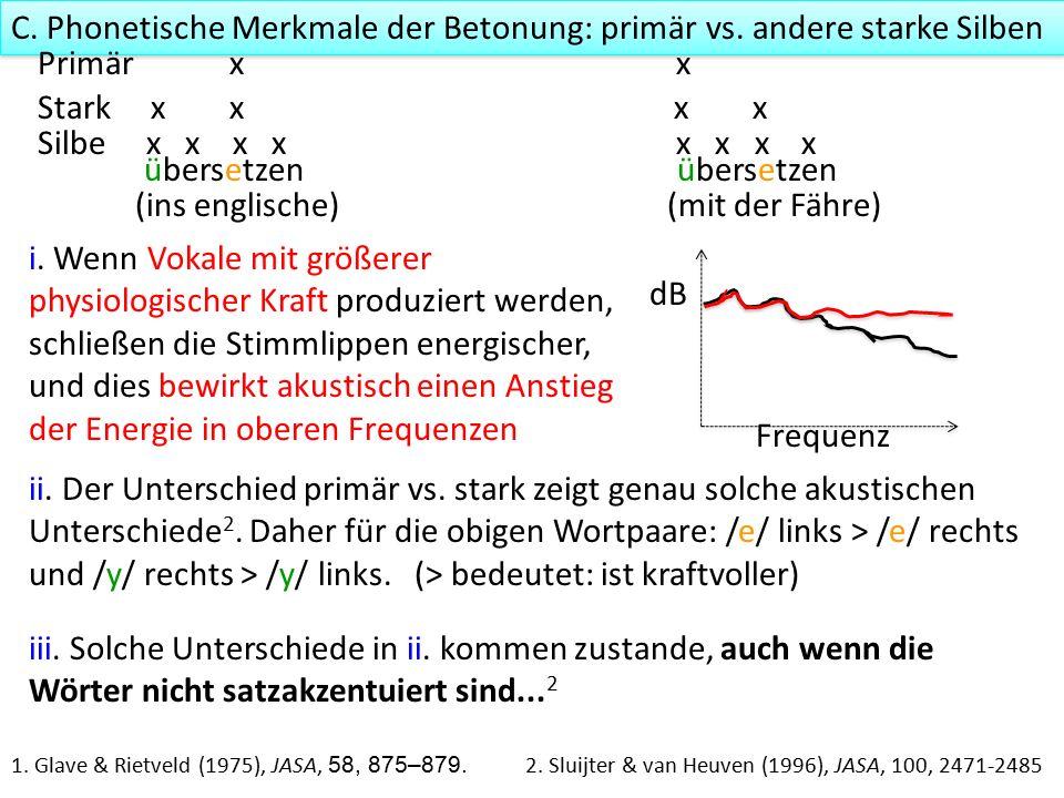 ii. Der Unterschied primär vs. stark zeigt genau solche akustischen Unterschiede 2.