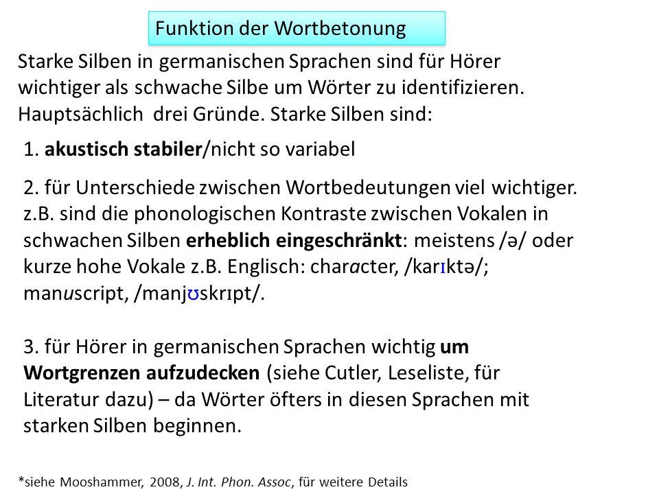 Funktion der Wortbetonung 1.
