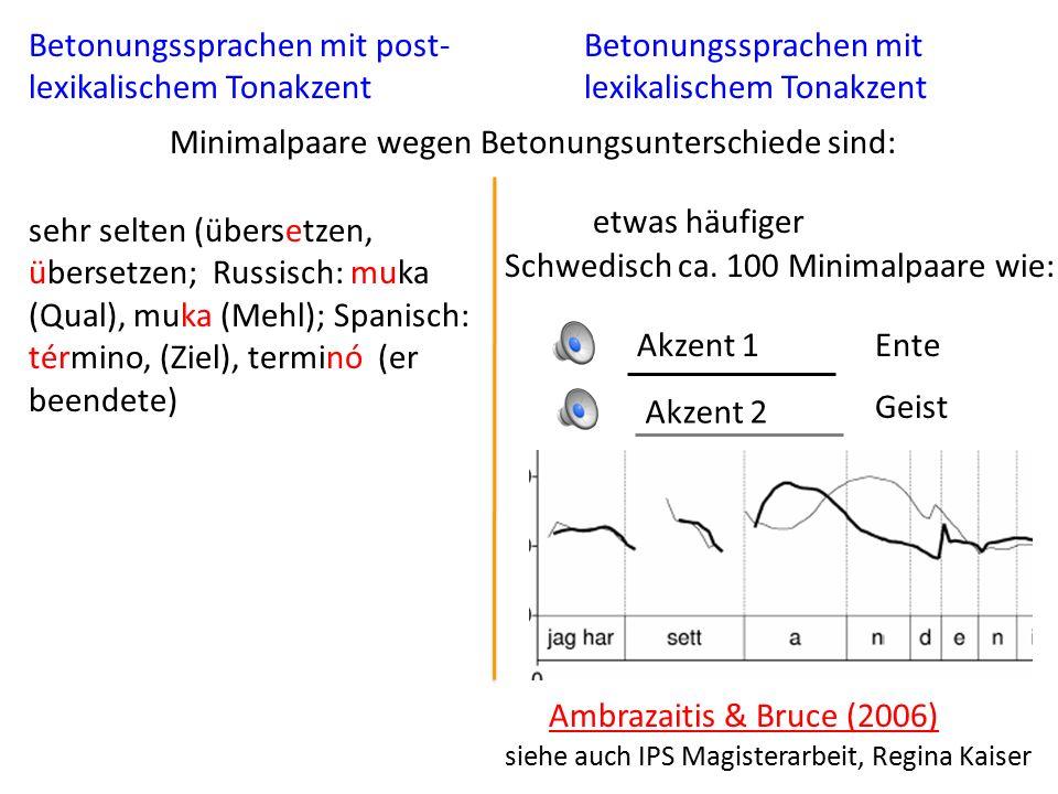 Funktion der Wortbetonung Die erste Silbe in der Mehrheit der Wörter in englisch, deutsch, und niederländisch sind primär betont Cutler, A.