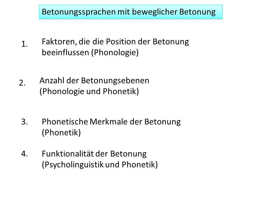 Betonungssprachen mit beweglicher Betonung Faktoren, die die Position der Betonung beeinflussen (Phonologie) Anzahl der Betonungsebenen (Phonologie und Phonetik) Funktionalität der Betonung (Psycholinguistik und Phonetik) Phonetische Merkmale der Betonung (Phonetik) 1.