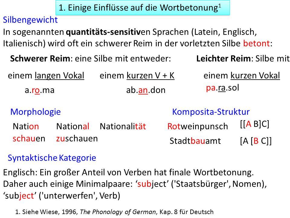 stark vs schwach 2.Lexikalische Betonungsebenen (Germanische Sprachen) primär vs.