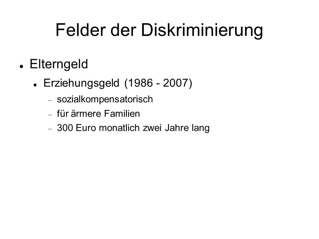 Felder der Diskriminierung Elterngeld Erziehungsgeld (1986 - 2007)  sozialkompensatorisch  für ärmere Familien  300 Euro monatlich zwei Jahre lang