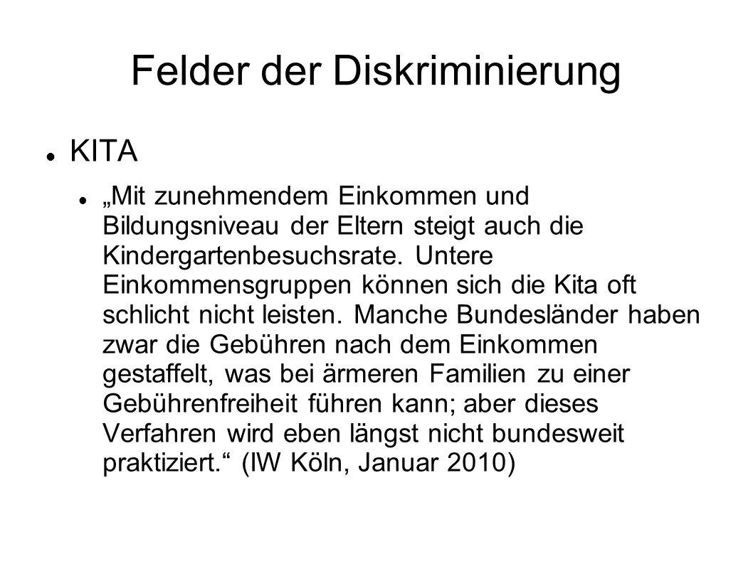"""Felder der Diskriminierung KITA """"Mit zunehmendem Einkommen und Bildungsniveau der Eltern steigt auch die Kindergartenbesuchsrate."""