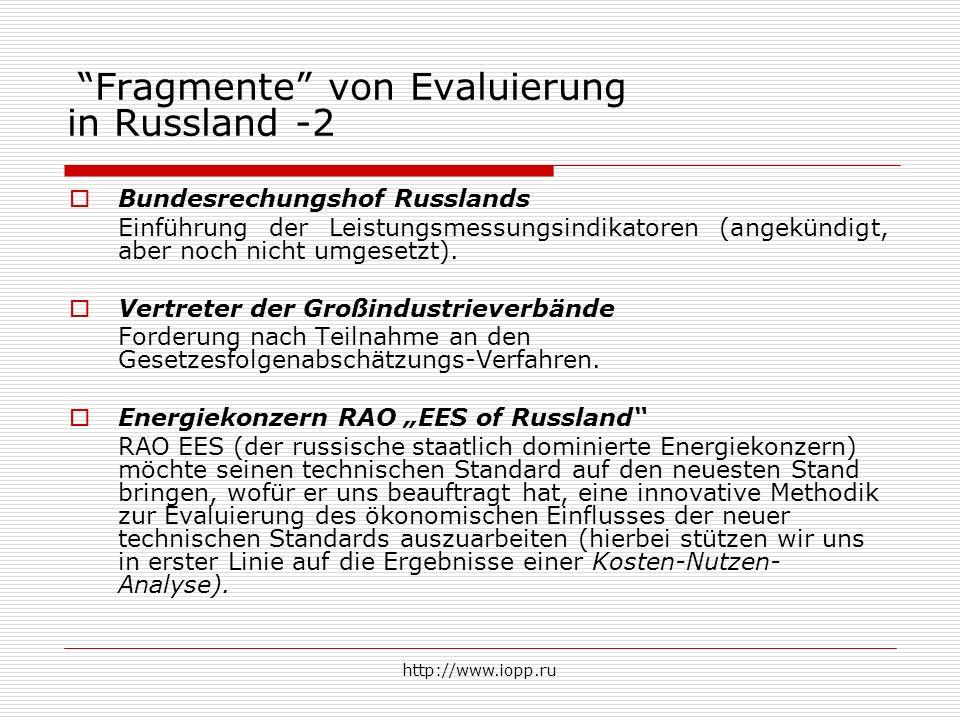 http://www.iopp.ru Fragmente von Evaluierung in Russland -2  Bundesrechungshof Russlands Einführung der Leistungsmessungsindikatoren (angekündigt, aber noch nicht umgesetzt).
