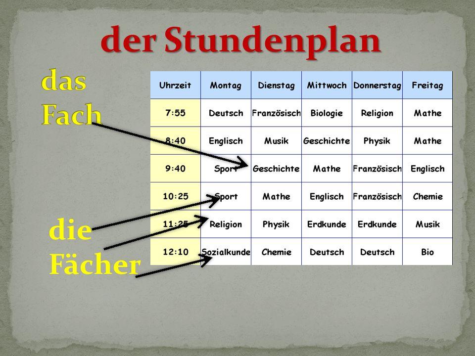 die Fächer der Stundenplan