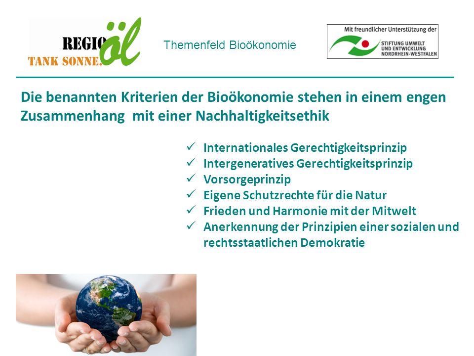 Themenfeld Bioökonomie Internationales Gerechtigkeitsprinzip Intergeneratives Gerechtigkeitsprinzip Vorsorgeprinzip Eigene Schutzrechte für die Natur Frieden und Harmonie mit der Mitwelt Anerkennung der Prinzipien einer sozialen und rechtsstaatlichen Demokratie Die benannten Kriterien der Bioökonomie stehen in einem engen Zusammenhang mit einer Nachhaltigkeitsethik