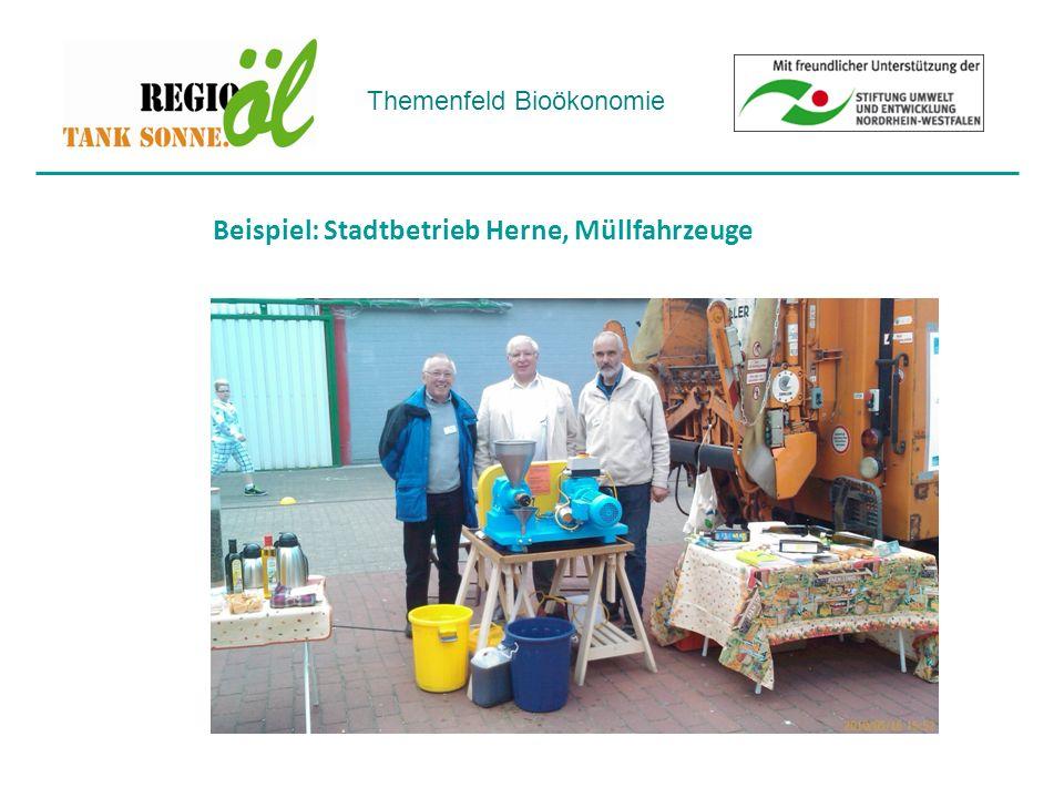 Themenfeld Bioökonomie Beispiel: Stadtbetrieb Herne, Müllfahrzeuge