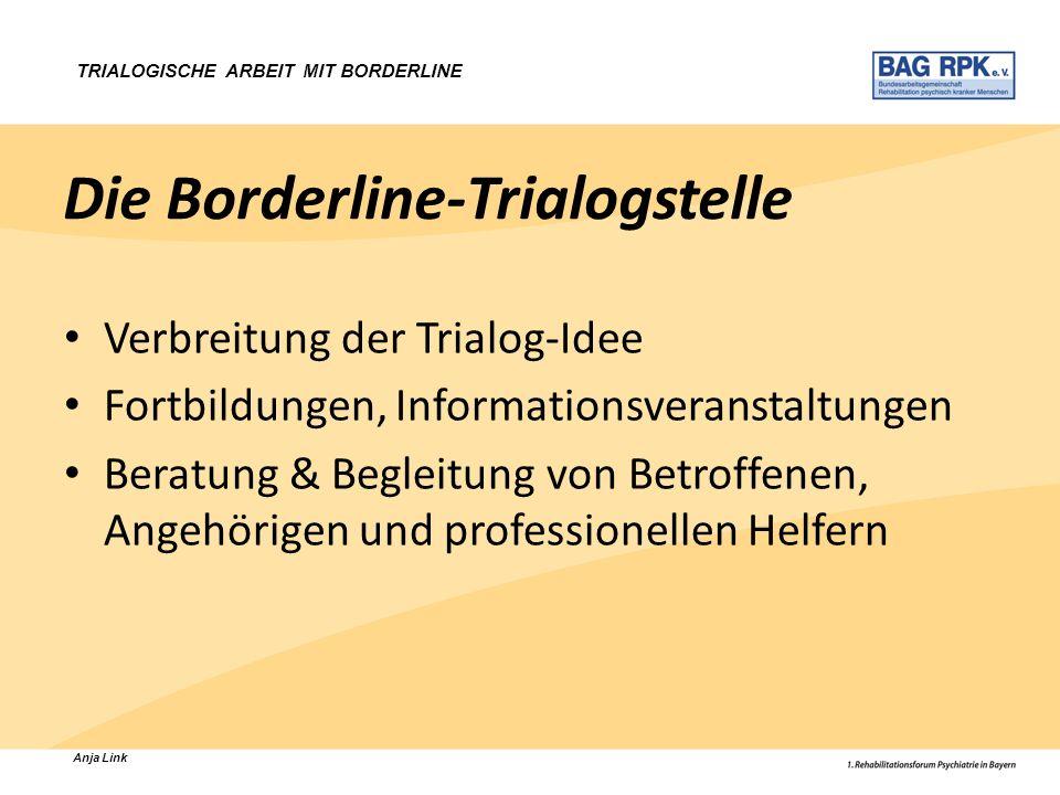 Anja Link TRIALOGISCHE ARBEIT MIT BORDERLINE Die Borderline-Trialogstelle Verbreitung der Trialog-Idee Fortbildungen, Informationsveranstaltungen Bera