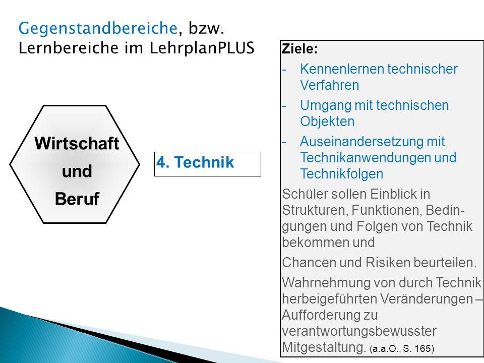 4. Technik Ziele: -Kennenlernen technischer Verfahren -Umgang mit technischen Objekten -Auseinandersetzung mit Technikanwendungen und Technikfolgen Sc