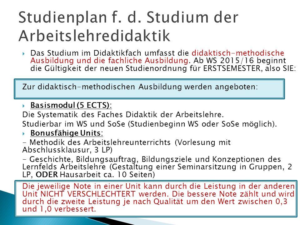  Das Studium im Didaktikfach umfasst die didaktisch-methodische Ausbildung und die fachliche Ausbildung.