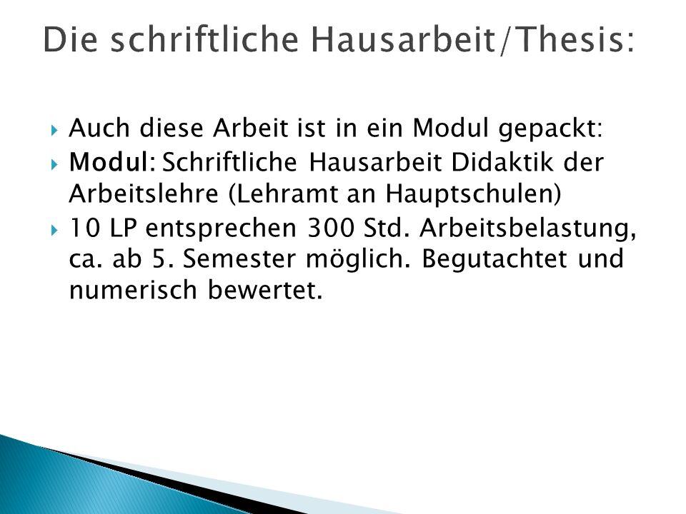  Auch diese Arbeit ist in ein Modul gepackt:  Modul: Schriftliche Hausarbeit Didaktik der Arbeitslehre (Lehramt an Hauptschulen)  10 LP entsprechen 300 Std.
