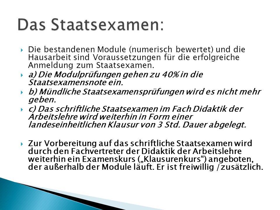  Die bestandenen Module (numerisch bewertet) und die Hausarbeit sind Voraussetzungen für die erfolgreiche Anmeldung zum Staatsexamen.