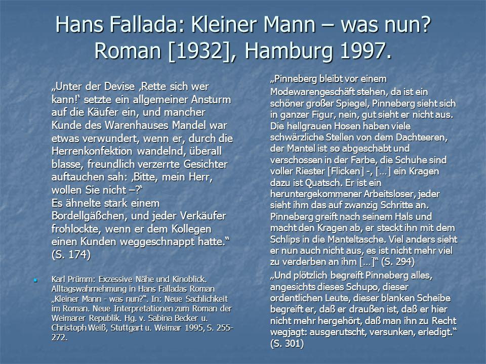 """Hans Fallada: Kleiner Mann – was nun? Roman [1932], Hamburg 1997. """"Unter der Devise 'Rette sich wer kann!' setzte ein allgemeiner Ansturm auf die Käuf"""
