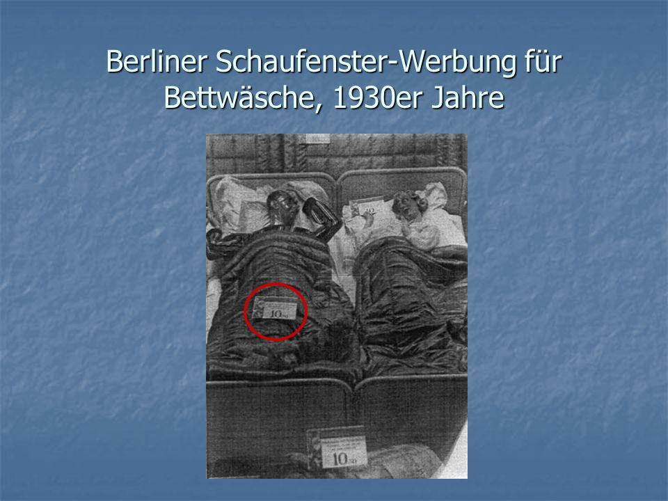 Berliner Schaufenster-Werbung für Bettwäsche, 1930er Jahre