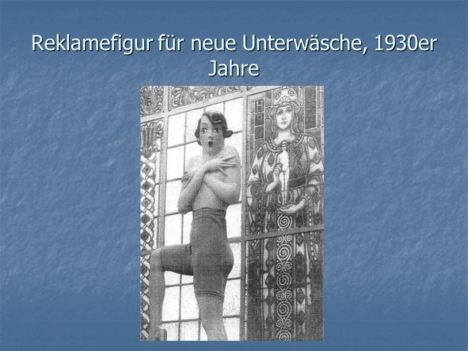 Reklamefigur für neue Unterwäsche, 1930er Jahre