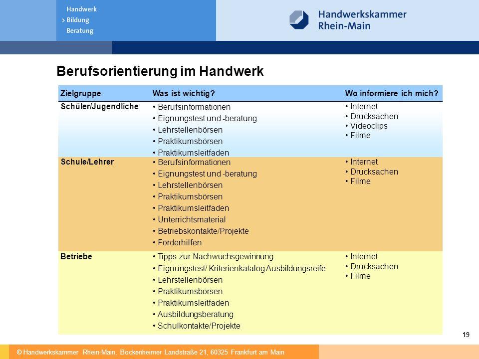 © Handwerkskammer Rhein-Main, Bockenheimer Landstraße 21, 60325 Frankfurt am Main 19 Berufsorientierung im Handwerk ZielgruppeWas ist wichtig?Wo infor