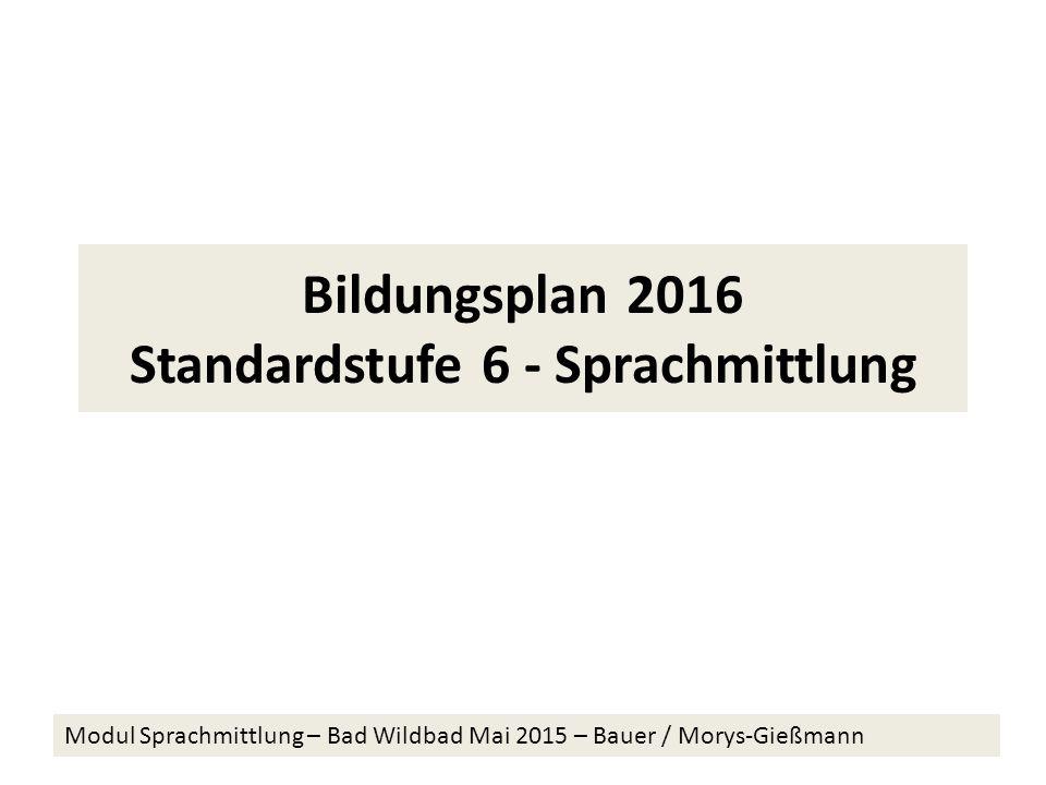 Bildungsplan 2016 Standardstufe 6 - Sprachmittlung Modul Sprachmittlung – Bad Wildbad Mai 2015 – Bauer / Morys-Gießmann