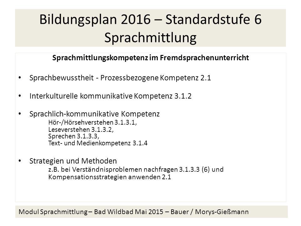 Bildungsplan 2016 – Standardstufe 6 Sprachmittlung Sprachmittlungskompetenz im Fremdsprachenunterricht Sprachbewusstheit - Prozessbezogene Kompetenz 2.1 Interkulturelle kommunikative Kompetenz 3.1.2 Sprachlich-kommunikative Kompetenz Hör-/Hörsehverstehen 3.1.3.1, Leseverstehen 3.1.3.2, Sprechen 3.1.3.3, Text- und Medienkompetenz 3.1.4 Strategien und Methoden z.B.