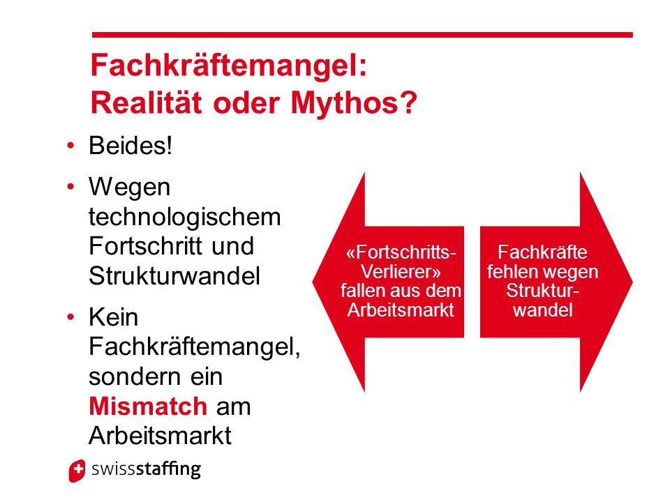 «Fortschritts- Verlierer» fallen aus dem Arbeitsmarkt Fachkräfte fehlen wegen Struktur- wandel Fachkräftemangel: Realität oder Mythos.