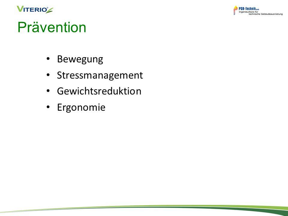 Prävention Bewegung Stressmanagement Gewichtsreduktion Ergonomie
