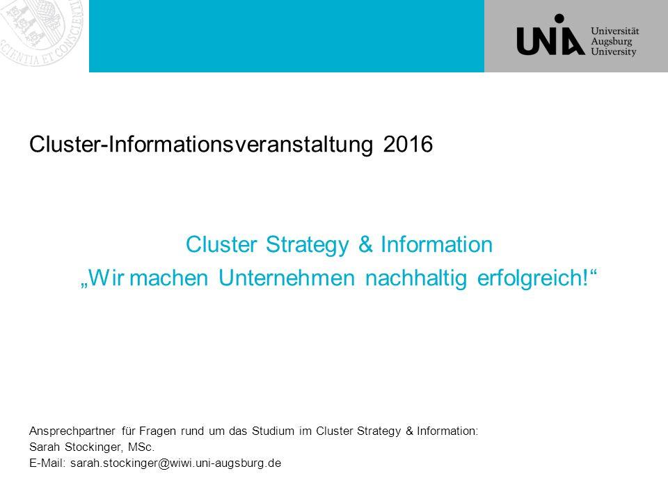 """Cluster-Informationsveranstaltung 2016 Cluster Strategy & Information """"Wir machen Unternehmen nachhaltig erfolgreich!"""" Ansprechpartner für Fragen rund"""