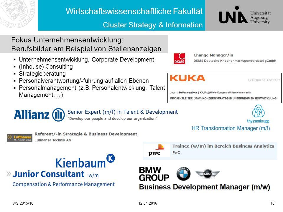 Wirtschaftswissenschaftliche Fakultät WS 2015/1612.01.201610 Cluster Strategy & Information Fokus Unternehmensentwicklung: Berufsbilder am Beispiel vo