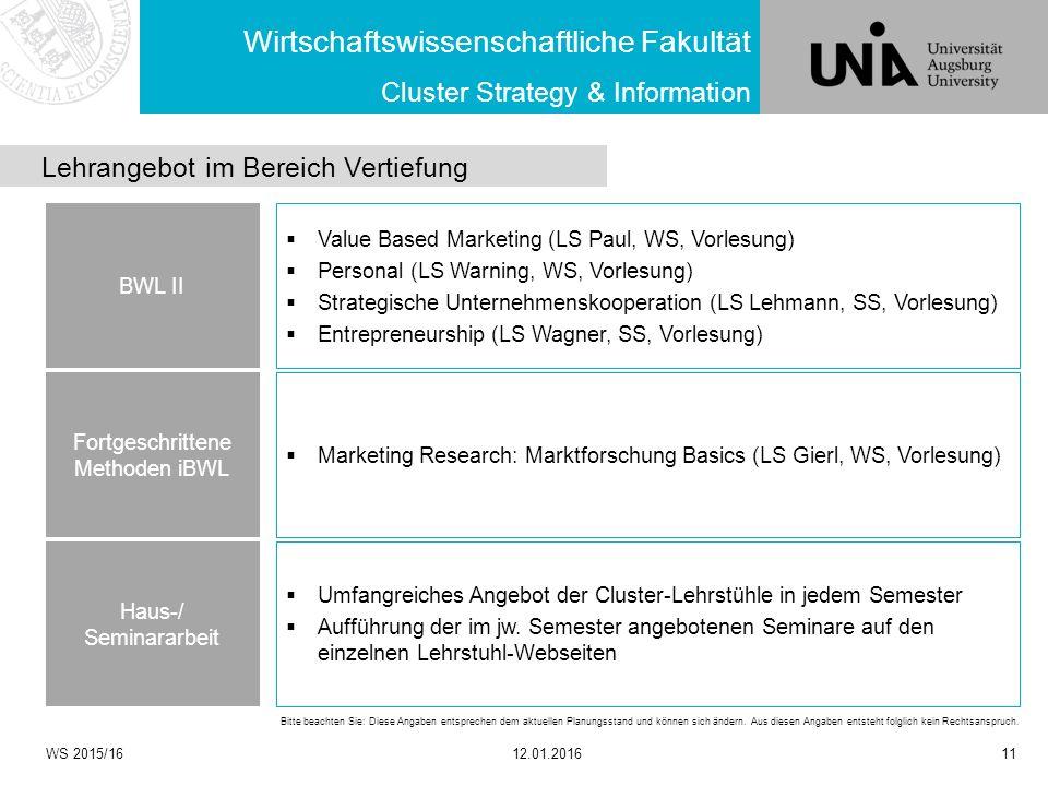  Value Based Marketing (LS Paul, WS, Vorlesung)  Personal (LS Warning, WS, Vorlesung)  Strategische Unternehmenskooperation (LS Lehmann, SS, Vorles